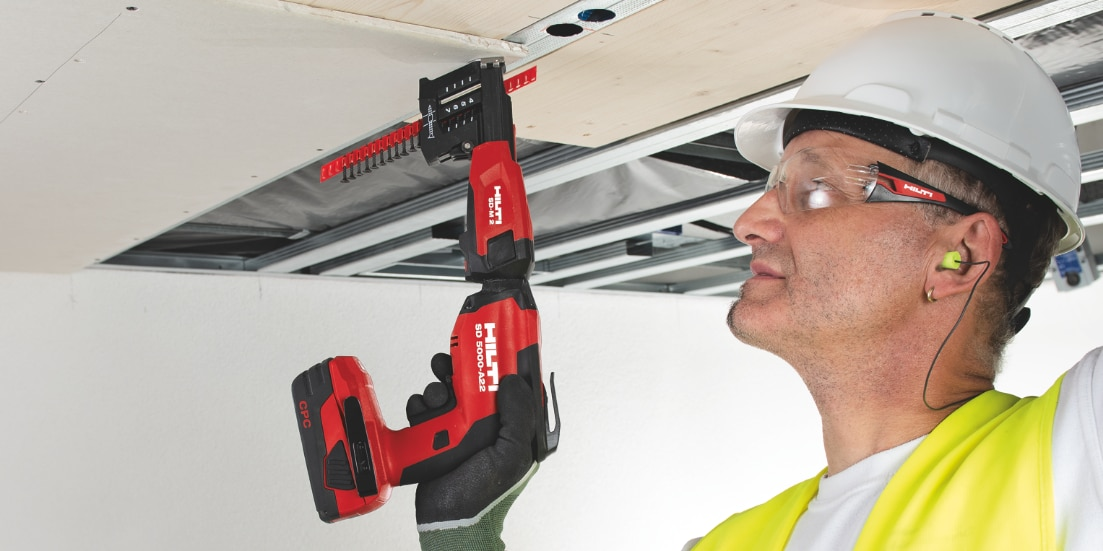 Our new SD 5000-A22 cordless drywall screwgun is 30% lighter, perfect for overhead work