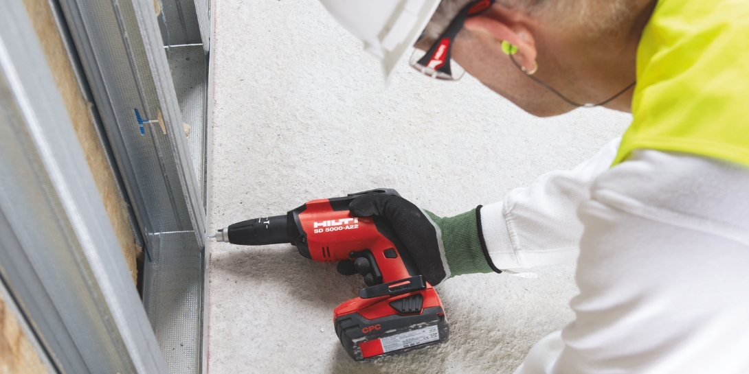 Our new SD 5000-A22 cordless drywall screwdriver has improved ergonomics, for better handling and worker comfort